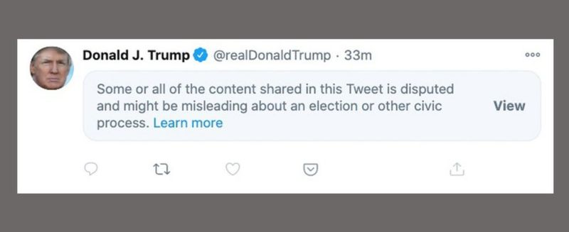 US Election: Twitter hides Trump tweet about 'disappearing' lead _115228750_trumpbloc