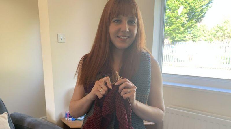 Amy knitting