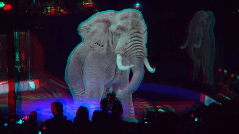Hologram on an elephant at Circus Roncalli in Germany