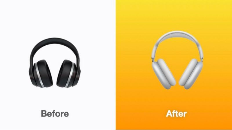 Before and after of the headphones emoji