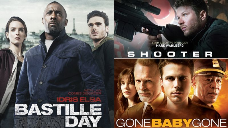 Film posters for Bastille Day, Gone Baby Gone and Shooter