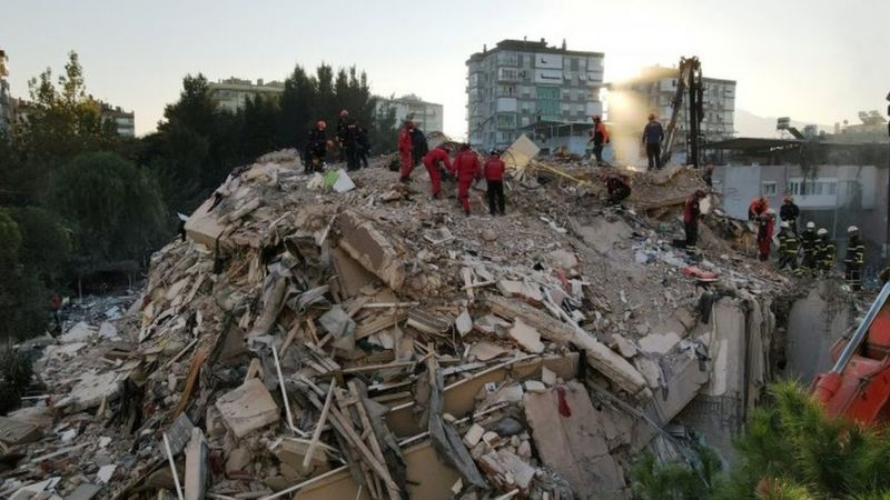 Twenty buildings were turned into mounds of concrete rubble by the earthquake in Izmir
