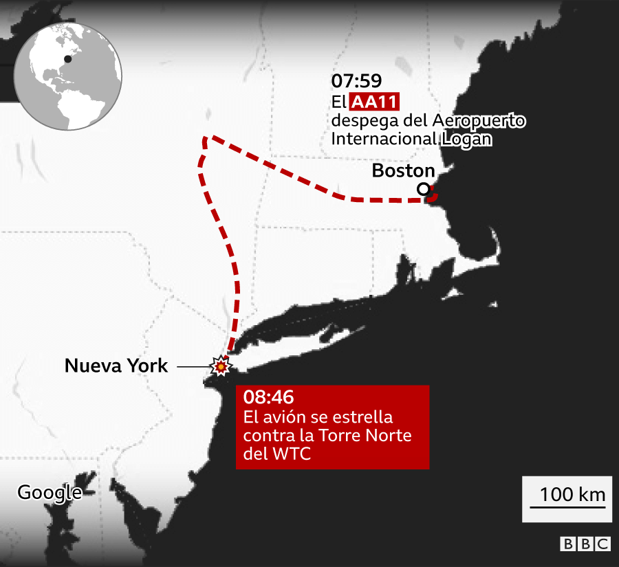 Infografía del recorrido del vuelo AA11 desde Boston hasta el momento que se estrella en Nueva York