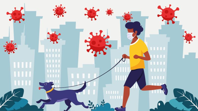 Ilustração de criança andando com seu cachorro