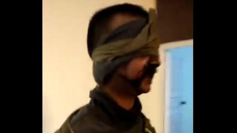 Image purportedly showing captured Indian pilot