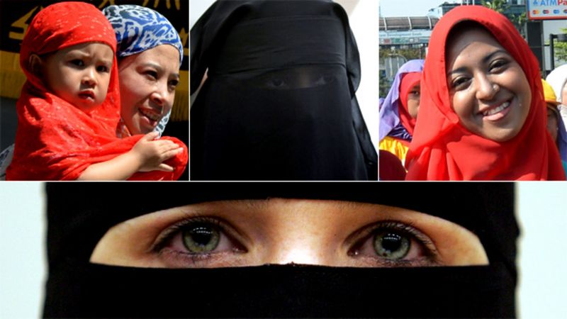 Composite image of Muslim women wearing headscarves