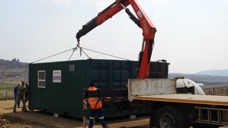 A container full of equipment has been transported overseas