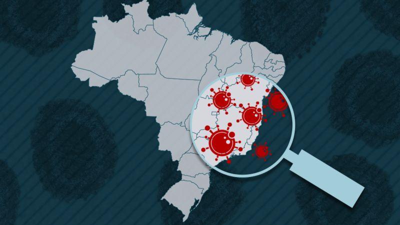 Ilustração do mapa do Brasil com lupa sobre ele