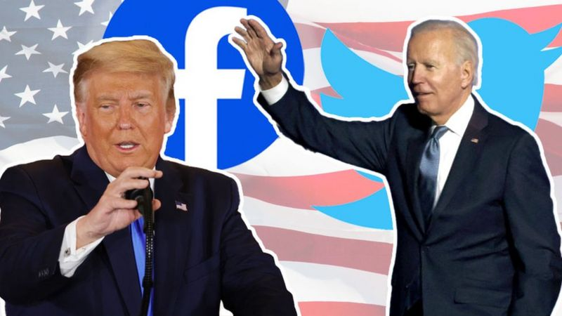 US Election: Twitter hides Trump tweet about 'disappearing' lead _115223522_trumpbiden2