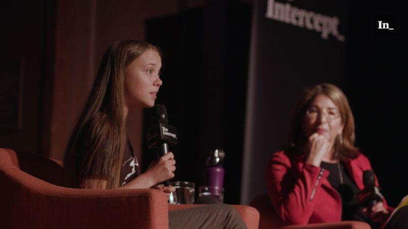 Greta being interviewed during live event