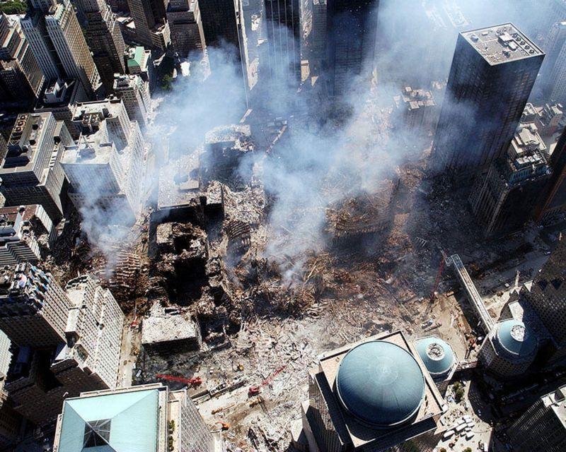 Imagen aérea de la destrucción