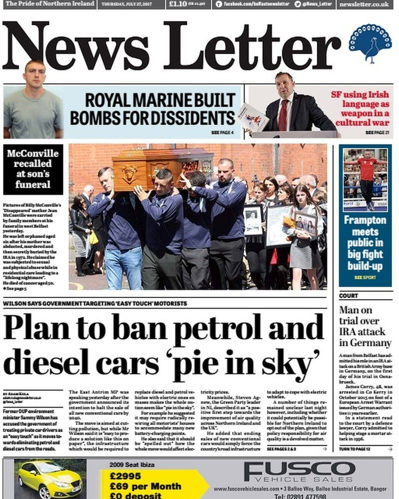 Front page of News Letter, Thursday 27 July