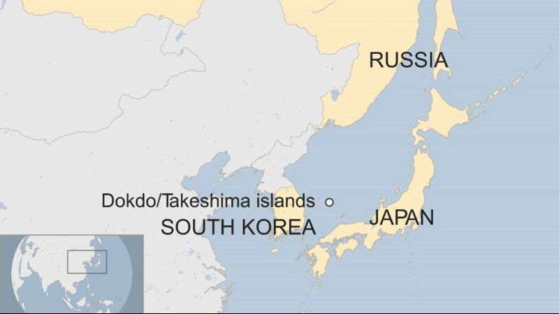 Map showing Dokdo/Takeshima Islands between South Korea and Japan, and south of Russia