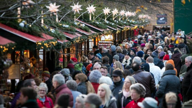 People at a Christmas market
