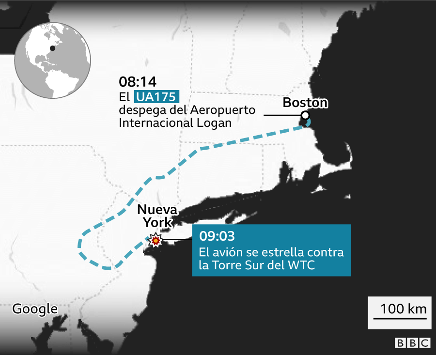 Infografía del recorrido del vuelo UA175 desde Boston hasta el momento que se estrella en Nueva York