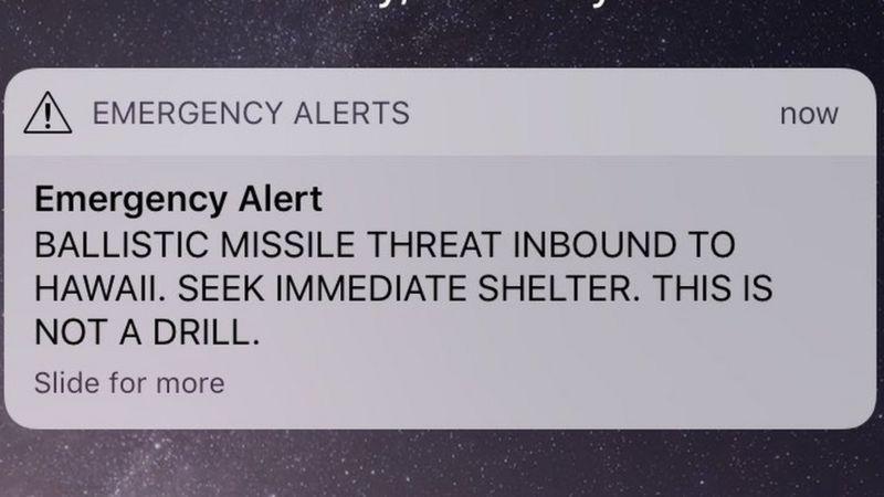 Mensaje de alerta en Hawaii