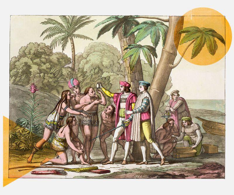 Grabado de Colón mostrando una campana a supuestos aborígenes.