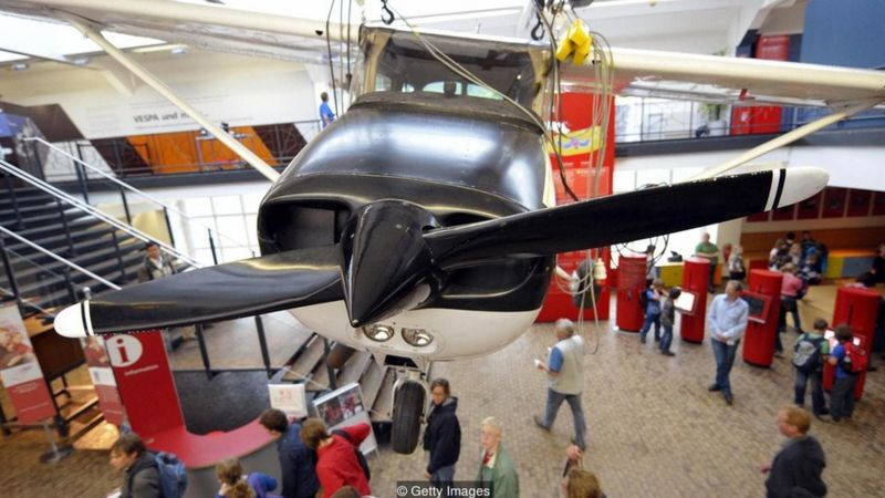 Rust's Cessna now hangs from the ceiling of a Berlin museum
