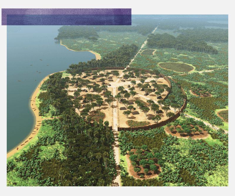 Recreación de Kuhikugu, con una plaza central y distintas carreteras que salen de su centro