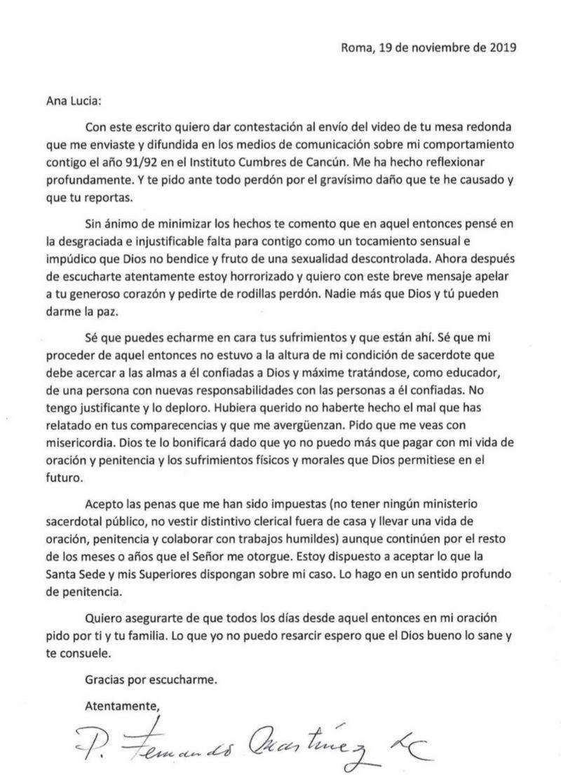 Carta de Fernando Martínez