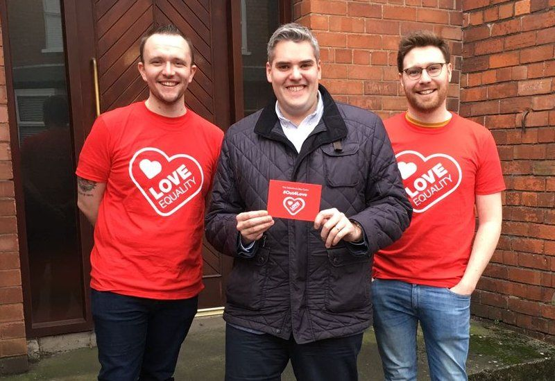 Gavin Robinson with Love Equality NI activists