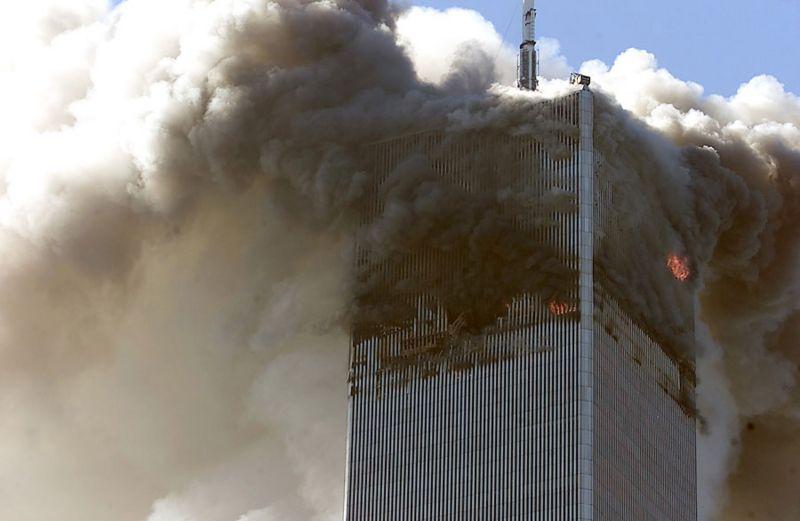 Foto de la Torre Norte del WTC después del ataque