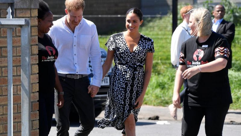 The Duke and Duchess of Sussex arrive at Nyanga