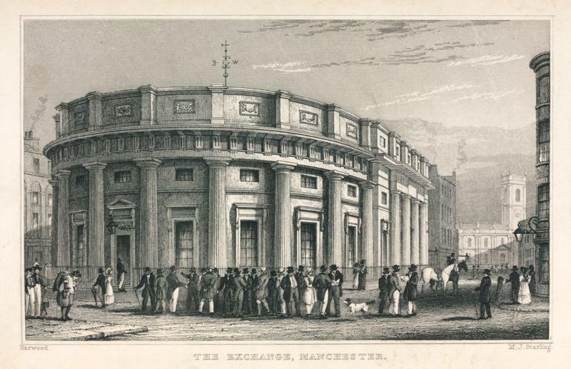 Gravura da Bolsa de Valores do Algodão em Manchester, no Reino Unido, em 1835