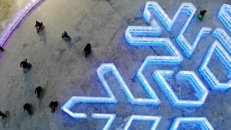 Aerial photo of an ice snowflake.