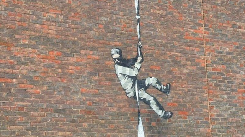بنکسی تایید کرد گرافیتی فرار از زندان قدیمی ردینگ اثر اوست