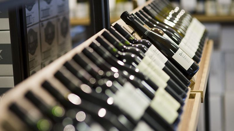 A row of wine bottles