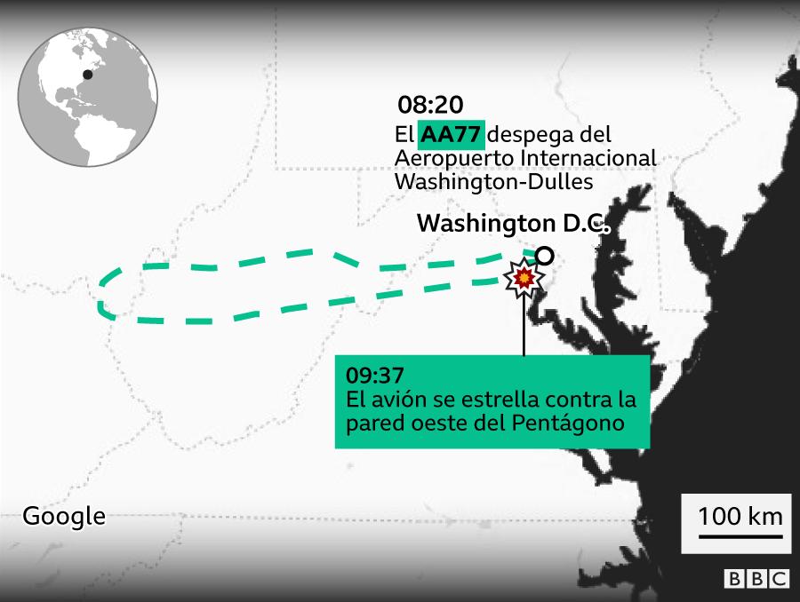 Infografía de dónde salió y dónde se estrello el AA77
