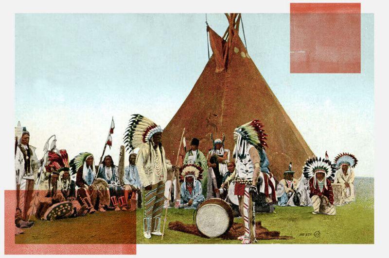 Ilustración que muestra una reunión de los jefes de las tribus Mohawk, Onondaga, Oneida, Cayuga, Seneca y Tuscarora.
