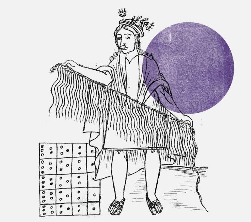 Grabado que muestra un señor con unos quipus.