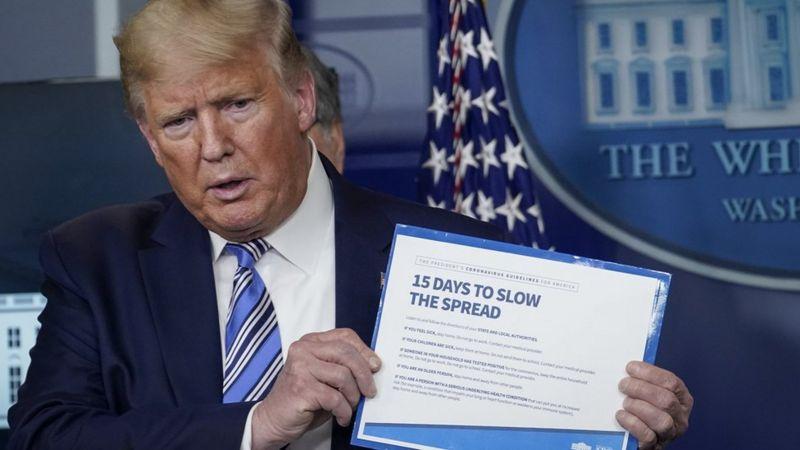 دونالد ترامپ در جلسه روزانه کاخ سفید درباره ویروس کرونا