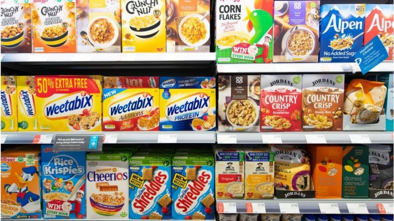 cereal boxes on shelves