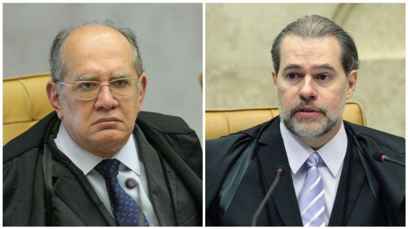 Colagem mostra fotos de Gilmar Mendes e Dias Toffoli no plenário
