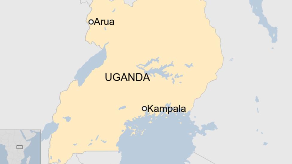 Map of Uganda showing Arua