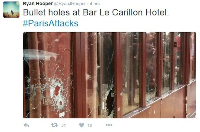 Tweeted pic of Le Carillon bullet holes
