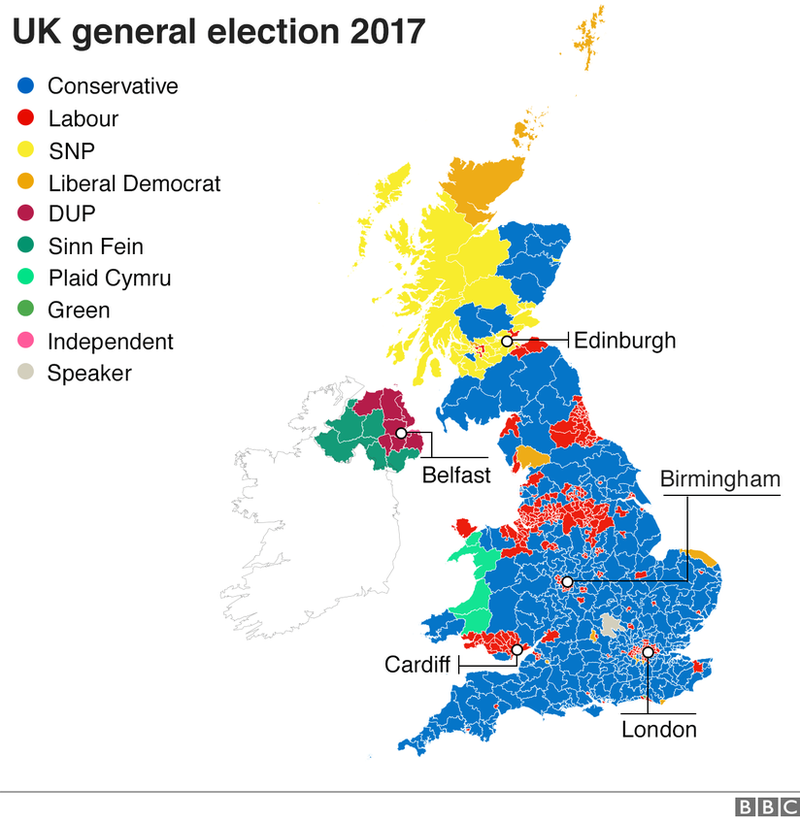 Map of UK general election constituencies after the 2017 vote