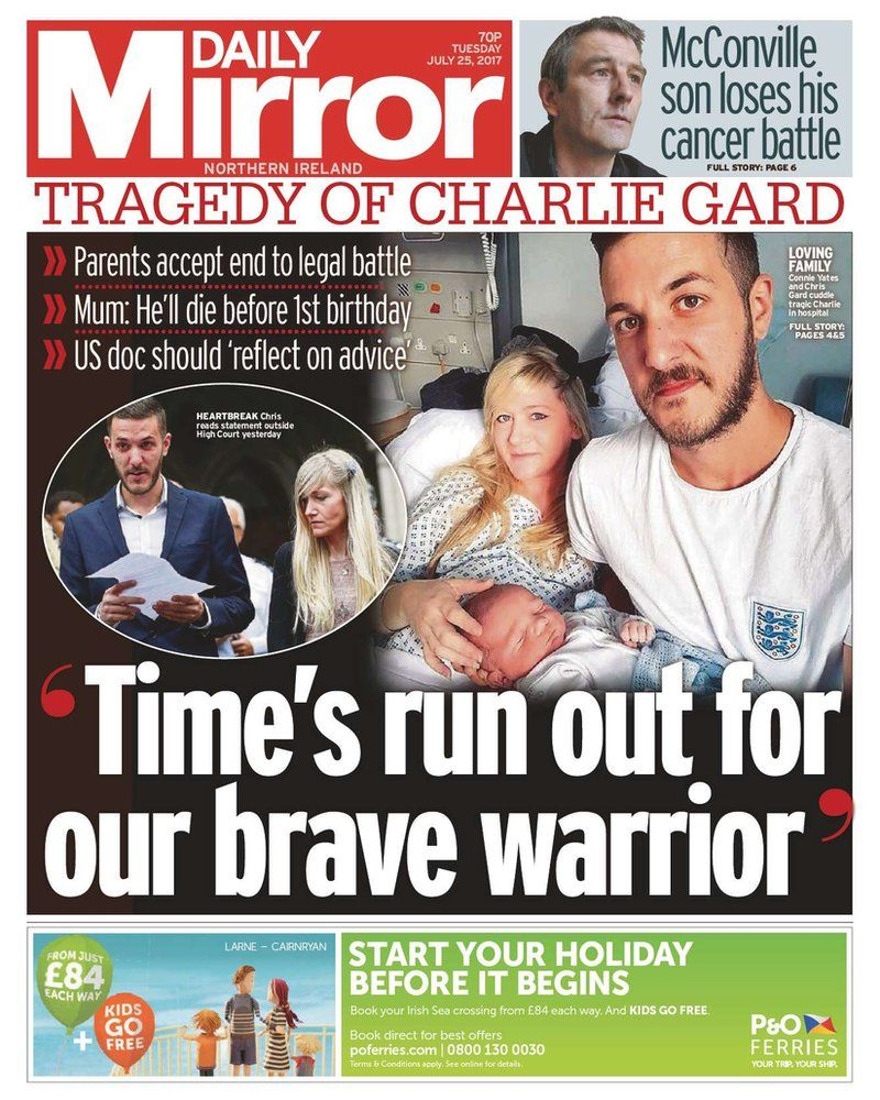 Tuesday 25 July Daily Mirror Front page