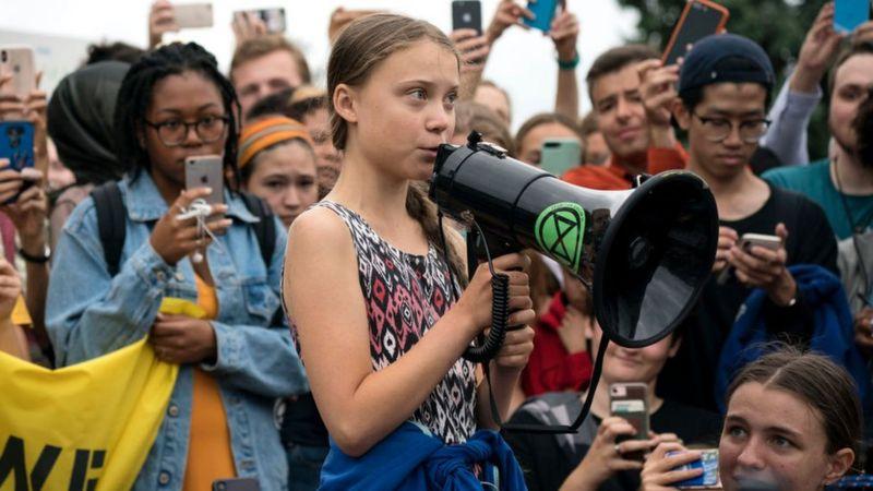 Greta-Thunberg-addresses-a-march