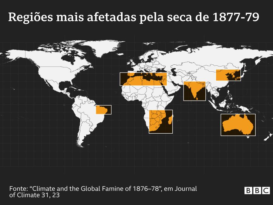 Mapa que mostra as regiões do mundo afetadas pelo fenômeno climático que gerou a seca em 1877