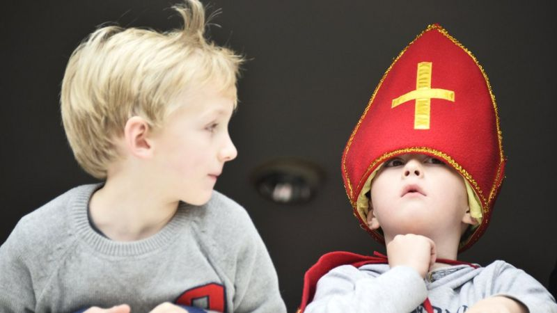 Children in the Netherlands dressed up for the arrival of Sinterklaas