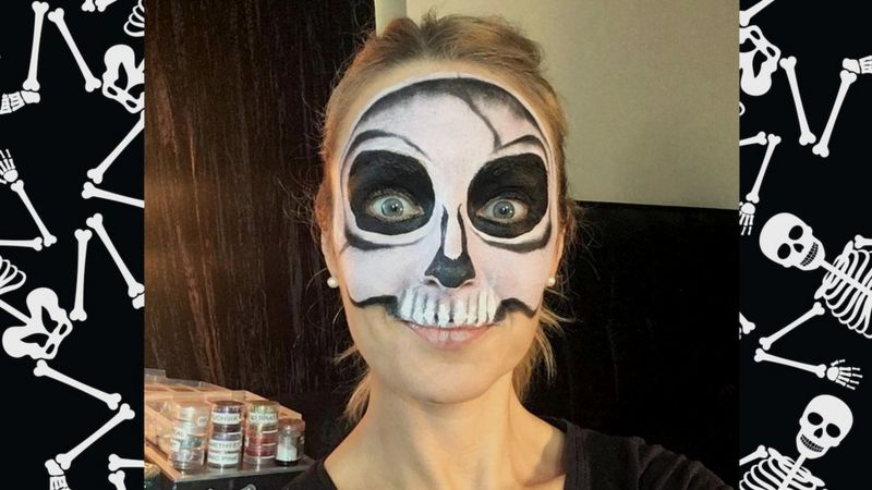 Halloween How to do a simple face paint skeleton , CBBC