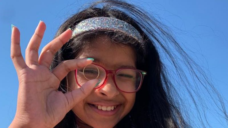 Priya Sahu after she found the wedding band on Ventnor beach on the Isle of Wight in August