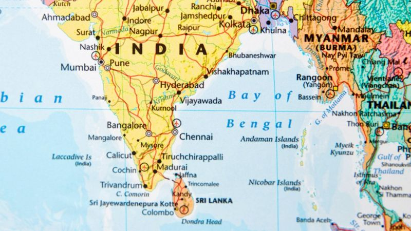 Map showing Bay of Bengal