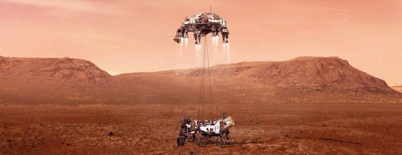Ilustração da Nasa mostra a Perseverance pousando em segurança em Marte