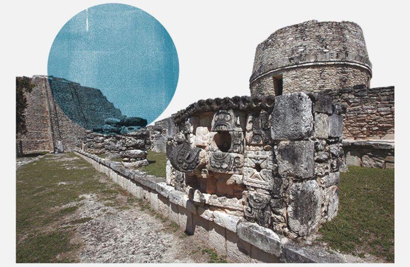 Fotografía de un templo de Mayapán.