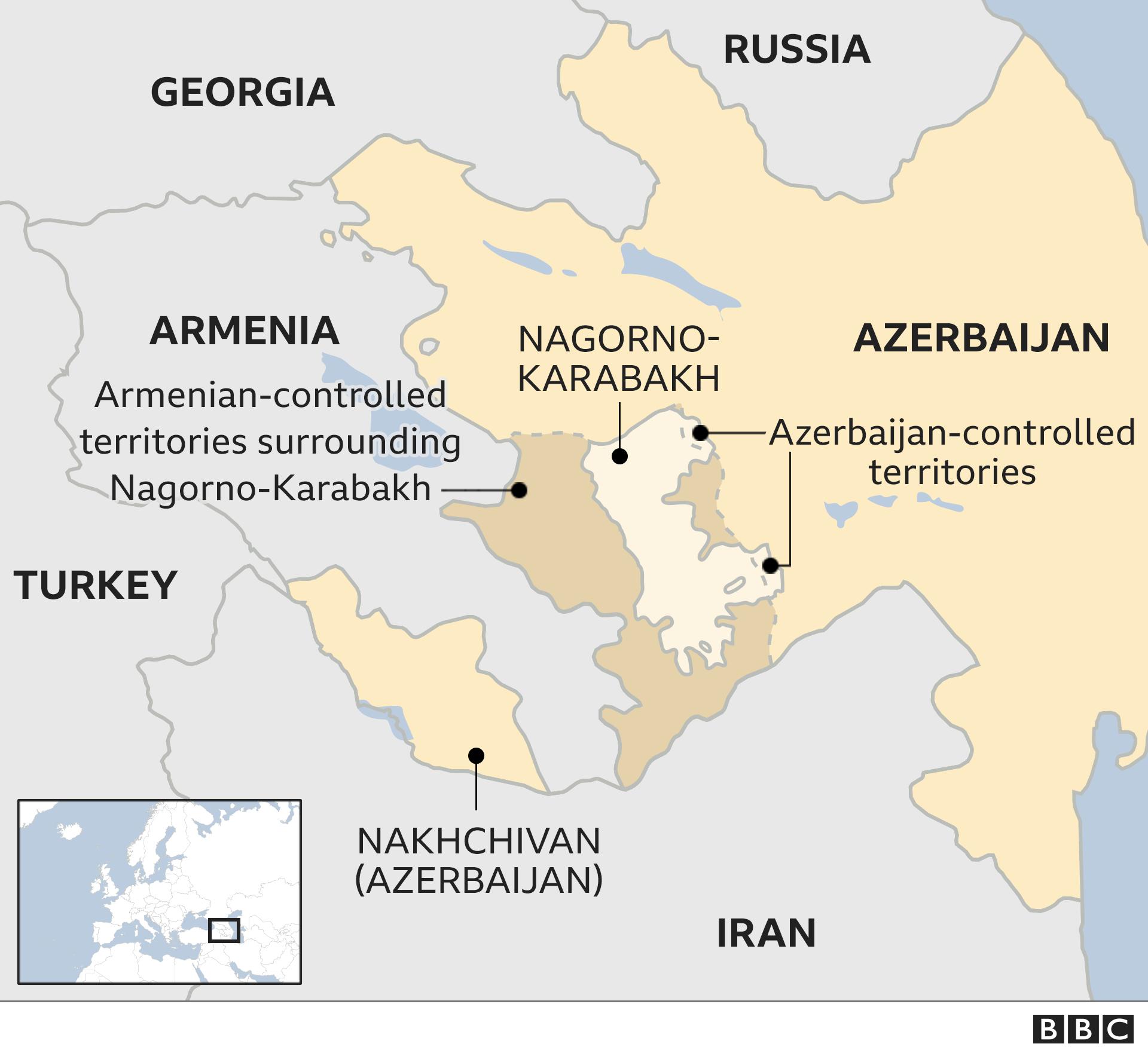 Armenia Azerbaijan Conflict Map Based Iasbaba